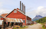 The Power Plant with Donoho Peak in the background in Kennecott, Wrangell-St Elias National Park