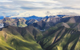Mt. Wrangell (14,163 ft.) an active glacier-covered shield volcano from the air in Wrangell-St Elias National Park
