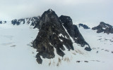 Snow and ice covered mountain peak near Shamrock Glacier