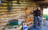Guide Kay at Dick Proenneke's cabin in Lake Clark National Park