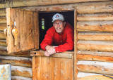 Through the double door at Dick Proenneke's cabin in Lake Clark National Park