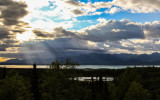 Sunlight through the clouds in Lake Clark National Park