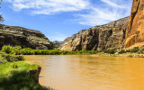 The Green River running through Echo Park in Dinosaur National Monument
