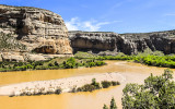 Sandbar in the Green River as it runs by Steamboat Rock in Dinosaur National Monument