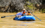Rafters on the Green River as they pass through Echo Park in Dinosaur National Monument