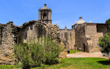 Side view of Mission Concepcion and ruins in San Antonio Missions NHP
