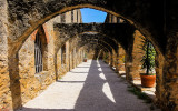 Arched walkway in the courtyard at Mission San Jose in San Antonio Missions NHP