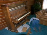 Getting the piano off the 2 dollies it has been on for the last dozen years