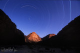 Star Trail above Whitmore Wash with setting full Moon- River Mile 188.4