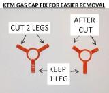 KTM Gas Cap Fix Summary- CUT 2 LEGS ONL:Y
