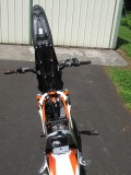 KTM Freeride 250 Seat Lifted and Fuel Tank Removed