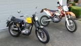 1968 BSA 441 Victor next to 2013 KTM 500EXC
