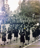 1945 - Doris Smoak Ford marching in the Coast Guard SPARS band in Washington, DC