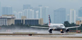 2016 - American Airlines Airbus A319-112 N5007E on takeoff roll on runway 27 aviation airline stock photo