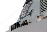 Crew members up top enjoying sailaway from Kusadasi, Turkey