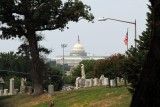U.S. Capitol & part of Mt. Olivet cemetery, statue & flag (shot from Azalea Rd)