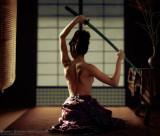 model: Yuki Kimura with tattoo, samurai sword, tatami mats, lantern & shouji screen