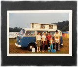 Family with their Blue VW Camper Van Oct. 1973