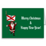 Santa Claus With Flag Banner Ensign Of US State * Alabama