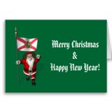 Santa Claus With Flag Banner Ensign Of US State * Florida