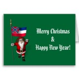Santa Claus With Flag Banner Ensign Of US State * Mississippi