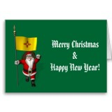 Santa Claus With Flag Banner Ensign Of US State * New Mexico