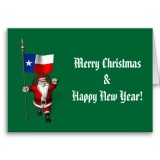 Santa Claus With Flag Banner Ensign Of US State * Texas