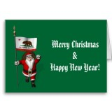 Santa Claus With Flag Banner Ensign Of US State * California