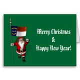 Santa Claus With Flag Banner Ensign Of US State * North Carolina