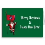 Santa Claus With Flag Banner Ensign Of US State * Tennessee