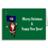 Santa Claus With Flag Banner Ensign Of US State * Kentucky