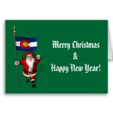 Santa Claus With Flag Banner Ensign Of US State * Colorado