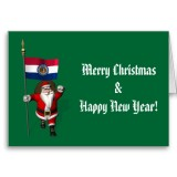 Santa Claus With Flag Banner Ensign Of US State * Missouri