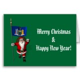 Santa Claus With Flag Banner Ensign Of US State * New York
