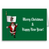 Santa Claus With Flag Banner Ensign Of US State * Illinois