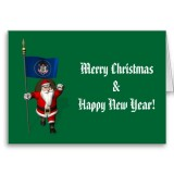 Santa Claus With Flag Banner Ensign Of US State * Utah