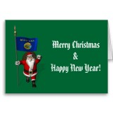 Santa Claus With Flag Banner Ensign Of US State * Montana
