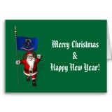 Santa Claus With Flag Banner Ensign Of US State * North Dakota