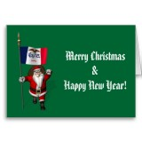 Santa Claus With Flag Banner Ensign Of US State * Iowa