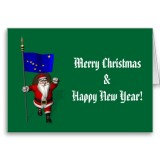 Santa Claus With Flag Banner Ensign Of US State * Alaska