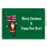 Santa Claus With Flag Banner Ensign Of US State * Hawaii