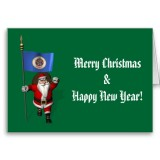 Santa Claus With Flag Banner Ensign Of US State * Minnesota