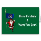 Santa Claus With Flag Banner Ensign Of US State * Michigan