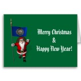Santa Claus With Flag Banner Ensign Of US State * New Hampshire
