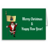 Santa Claus With Flag Banner Ensign Of US State * New Jersey