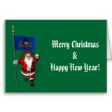 Santa Claus With Flag Banner Ensign Of US State * Pennsylvania