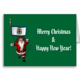 Santa Claus With Flag Banner Ensign Of US State * West Virginia