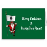 Santa Claus With Flag Banner Ensign Of US State * Massachusetts