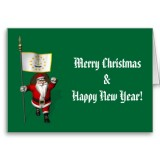 Santa Claus With Flag Banner Ensign Of US State * Rhode Island