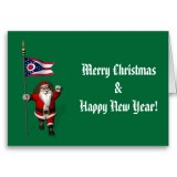 Santa Claus With Flag Banner Ensign Of US State * Ohio